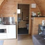 Kitchen Area Meadowsweet Pod - Bradley Hall Rural Escapes - Glamping in Cheshire