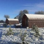 Snowy pods at Bradley Hall Rural Escapes - Glamping in Cheshire