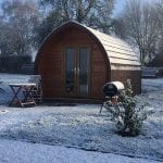 A pod in the snow at Winter Scene at Bradley Hall Rural Escapes - Glamping in Cheshire